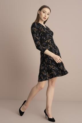 Tena Moda Kadın Siyah Örme Crep Kruvaze Elbise 1