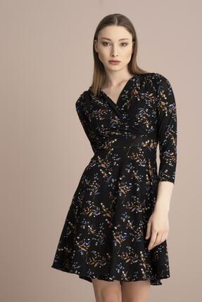Tena Moda Kadın Siyah Örme Crep Kruvaze Elbise 2