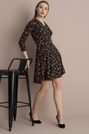 Tena Moda Kadın Kırmızı Çiçekli Örme Crep Kruvaze Elbise 0