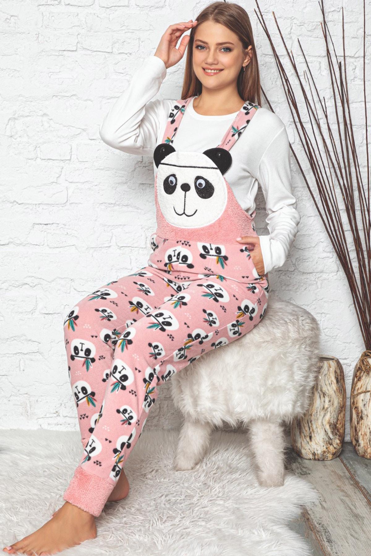 Pijamaevi Kadın Pembe Panda Desenli Kadın Bahçıvan Polar Peluş Tulum Pijama Takımı 0
