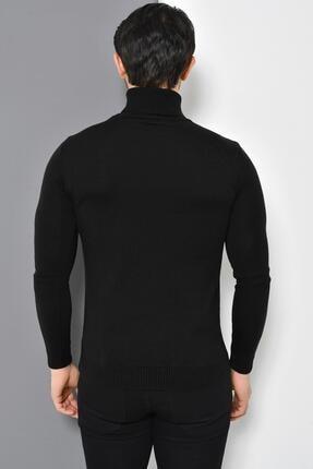 Tena Moda Erkek Siyah Tam Balıkçı Yaka Basic Triko Kazak 3