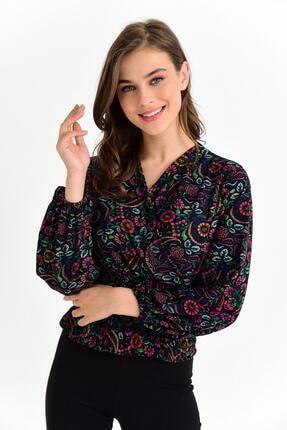 Tena Moda Kadın Siyah Örme Crep Gipeli Bluz 1