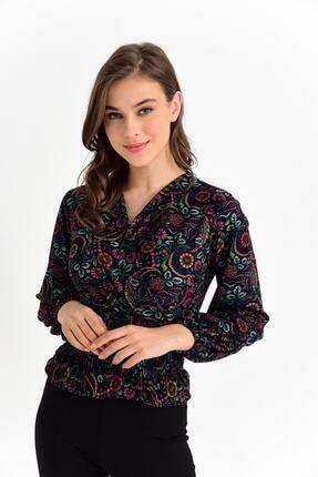 Tena Moda Kadın Siyah Örme Crep Gipeli Bluz 2