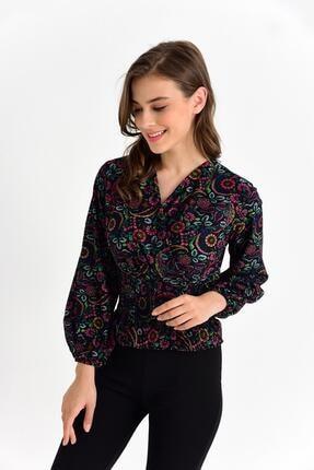 Tena Moda Kadın Siyah Örme Crep Gipeli Bluz 3