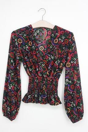 Tena Moda Kadın Fuşya Örme Crep Gipeli Bluz 0