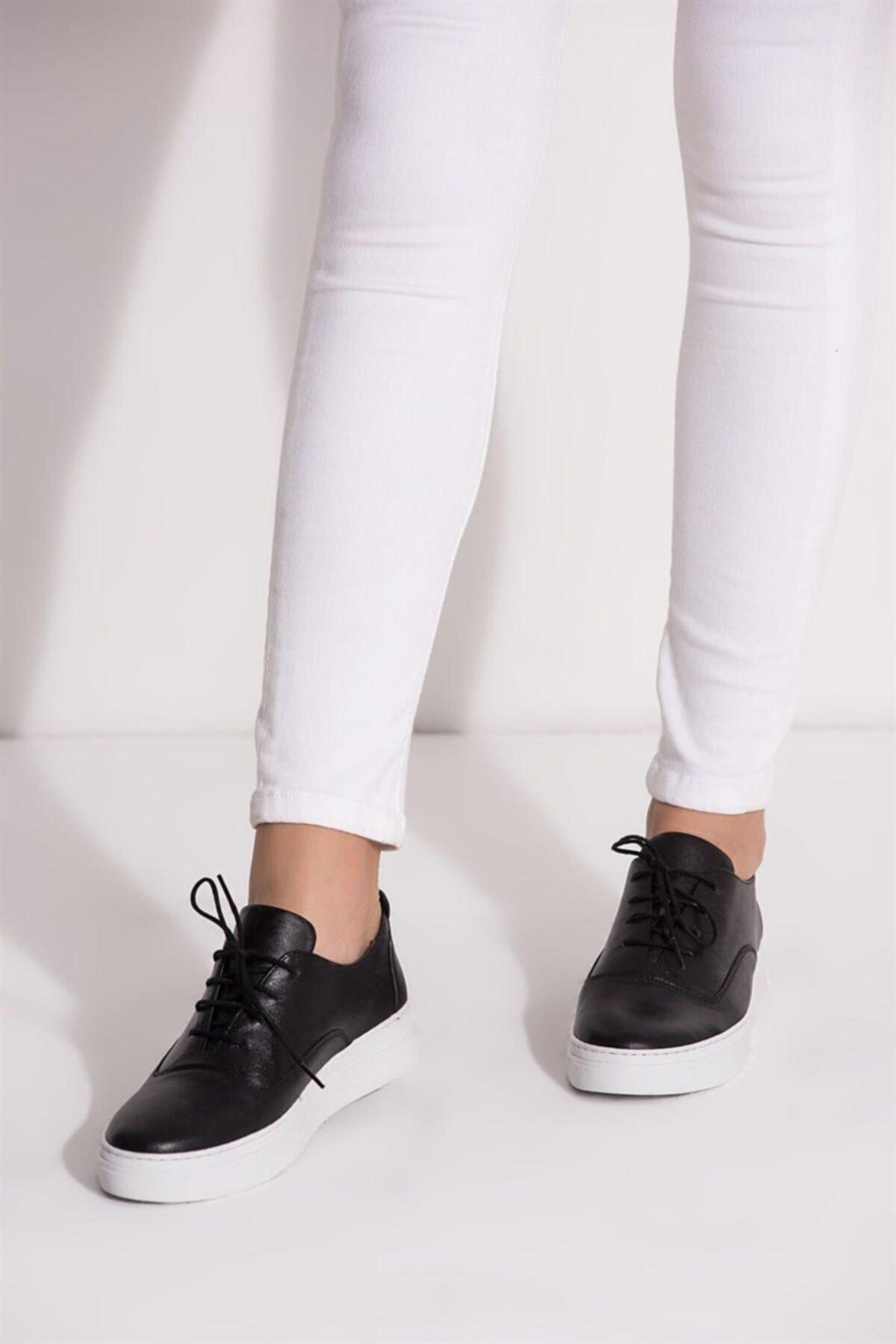 Deripabuc Hakiki Deri SİYAH Kadın Deri Sneaker