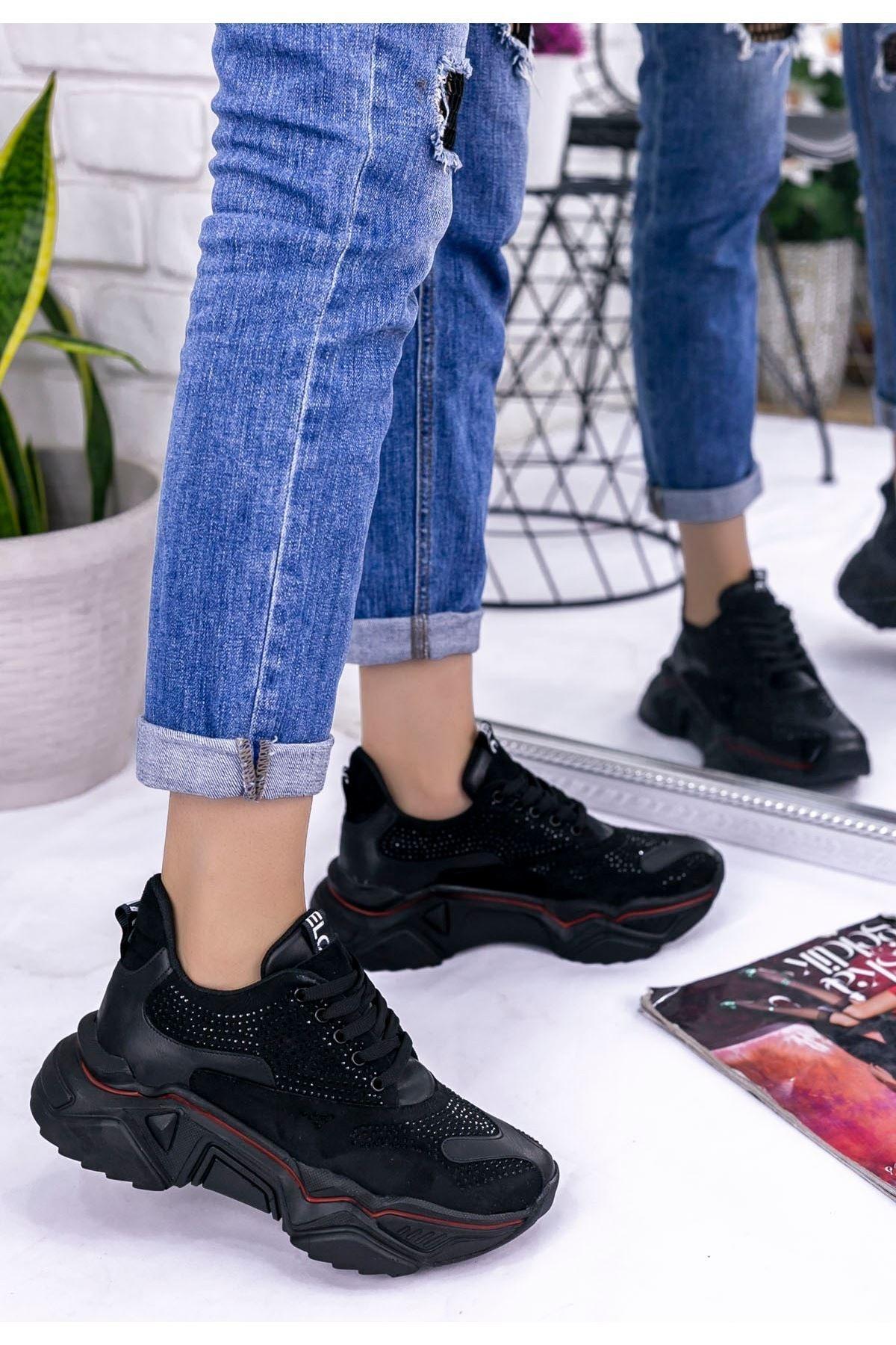 mozsoo Vira Kadın Siyah Süet Boncuk İşlemeli Spor Ayakkabı