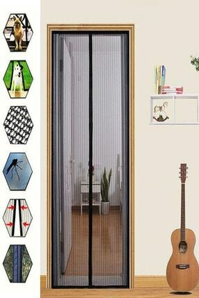 adisda Mıknatıslı Pencere Kapı Sinekliği Sineklik Tülü Perde Siyah 0