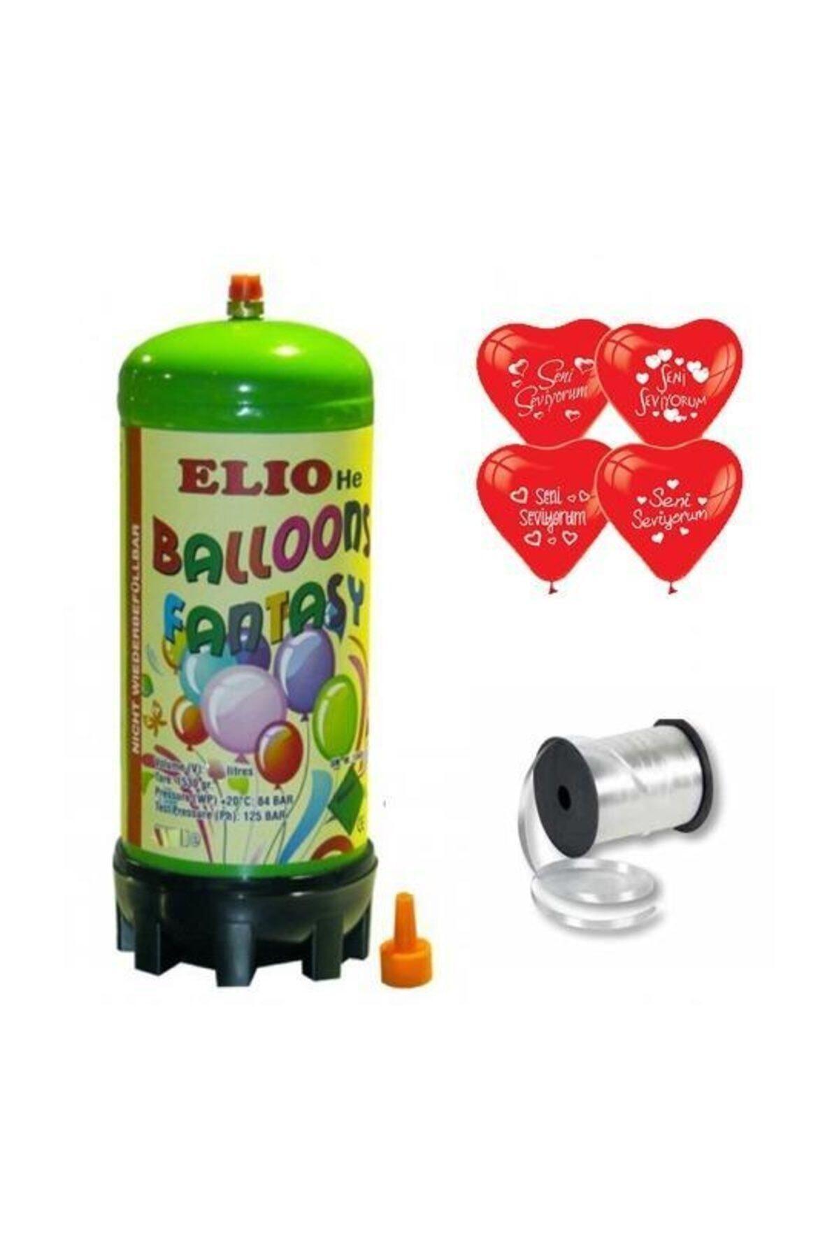 Helyum Gazı Tüp+20 Adet Seni Seviyorum Baskılı Kalp Uçan Balon + Ipi