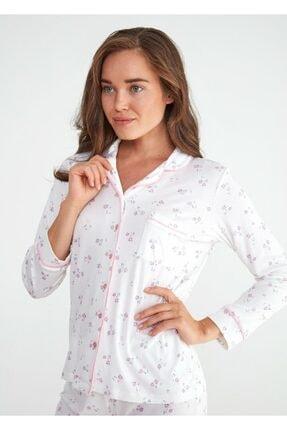 Suwen Kadın Ekru Young Mother Maskulen Pijama Takımı 1