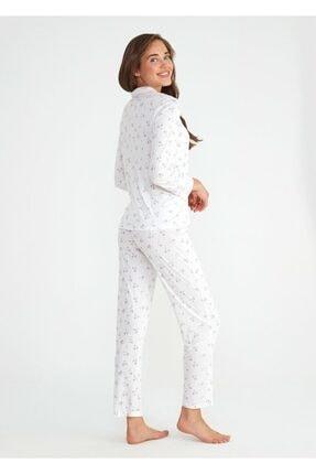 Suwen Kadın Ekru Young Mother Maskulen Pijama Takımı 2
