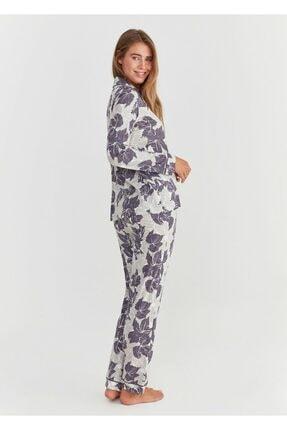 Suwen Kadın Mor Baskılı Crystal Maskulen Pijama Takımı 2