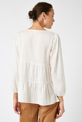 Koton Kadın Sarı Uzun Kollu Bağlama Detaylı Bluz 1KAK68719CW 3