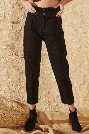 Sun Victoria Kadın Siyah Beli Lastikli Yüksek Bel Mom Jeans 1