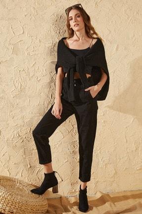Sun Victoria Kadın Siyah Beli Lastikli Yüksek Bel Mom Jeans 4