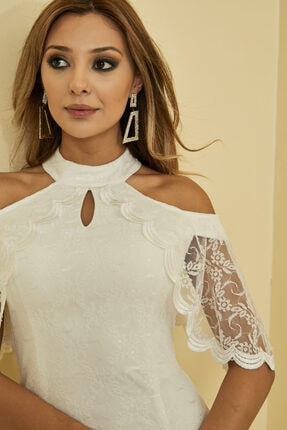 Mangoli Butik Kadın Beyaz Önü Pencere Detaylı Düşük Omuz Arkası Gizli Fermuar Kapama Astarlı Dantel Elbise 1