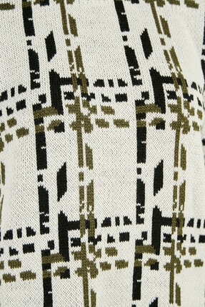 Sateen Kadın Ekru-Siyah-Haki Geniş Kol Desenli Triko  20KTR220K242 2