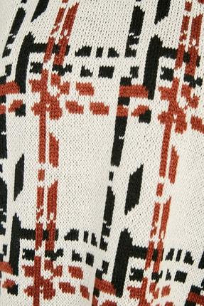 Sateen Kadın Ekru-Siyah-Kiremit Geniş Kol Desenli Triko  20KTR220K242 2