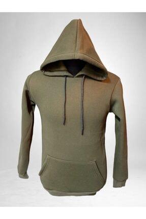 boypos Unisex Haki Kapüşonlu Içi Yünlü Sweatshirt 0