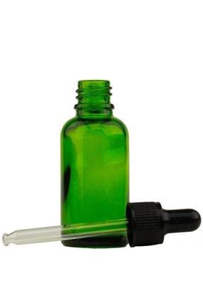 GALENİK Yeşil Cam Şişe 20ml Metal Siyah Kapak Cam Damlalıklı Dereceli 2