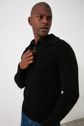 TRENDYOL MAN Siyah Erkek Fermuarlı Yarım Balıkçı Yaka Geniş Kalıp Triko Kazak TMNAW21KZ2067 3