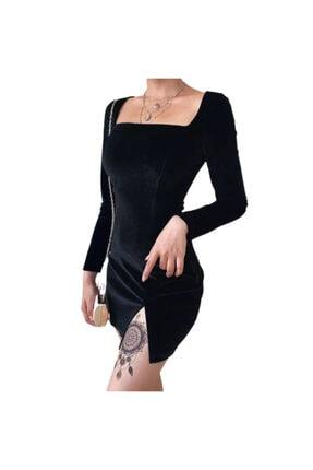 KATİBEM BUTİK Satıcısı Banabu Olan Kadın Siyah Yırtmaçlı Elbise 2