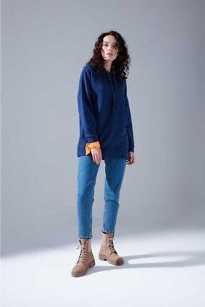 Mizalle Youth Kadın Indigo Oversize Sweatshirt 2