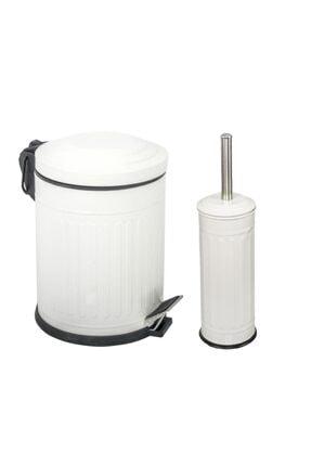 Foreca Beyaz Çizgili Vintage 2 Li Banyo Seti 0