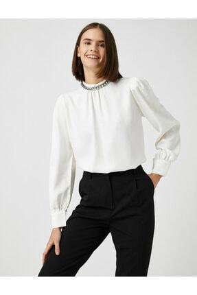 Koton Kadın Ekru Uzun Kollu Zincir Detayli Bluz 1