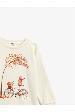 Koton Kız Çocuk Ekru Organik Pamuklu Baskılı Bisiklet Yaka Uzun Kollu Sweatshirt 2