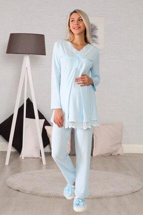 lohusahamile Kadın Mavi Gizli Emzirme Özellikli Lohusa Pijama Takımı 6032 0