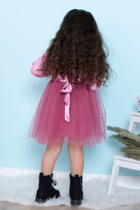 ALYAKİDS Yılbaşı Kız Elbise Kadife Pamuklu Tütülü 2