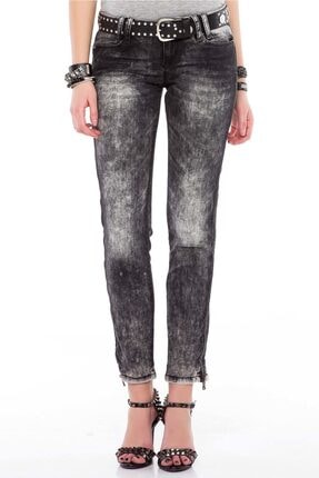Cipo&Baxx Kadın Siyah Fermuar Detaylı Yıkamalı Pantolon 1