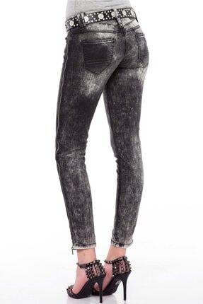 Cipo&Baxx Kadın Siyah Fermuar Detaylı Yıkamalı Pantolon 3