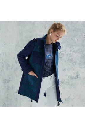 تصویر از Kadın Saks Mavi Apolet Detaylı Palto