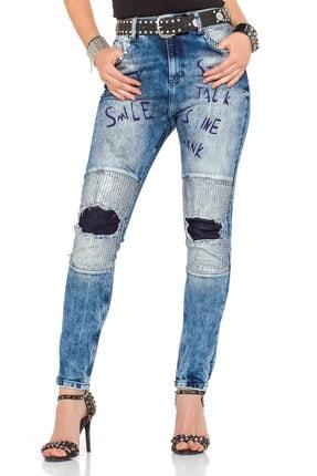Cipo&Baxx Kadın Mavi Yazı Baskılı Yamalı Taşlı Kot Pantolon 0