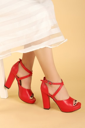 Ayakland Kadın Kırmızı Platform Topuklu Ayakkabı 11 cm 3210-2058 0