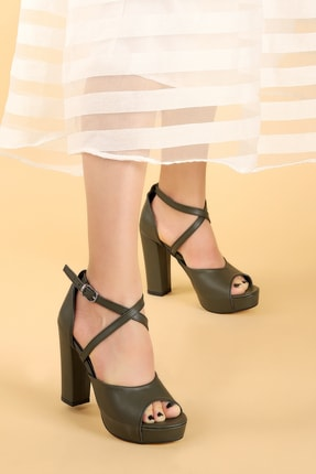 Ayakland Kadın Yeşil Platform Topuklu Ayakkabı 11 cm 3210-2058 2