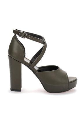 Ayakland Kadın Yeşil Platform Topuklu Ayakkabı 11 cm 3210-2058 3