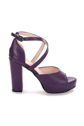 Ayakland Kadın Mor Platform Topuklu Ayakkabı 11 cm 3210-2058 3