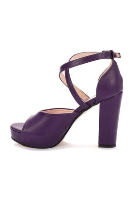 Ayakland Kadın Mor Platform Topuklu Ayakkabı 11 cm 3210-2058 4