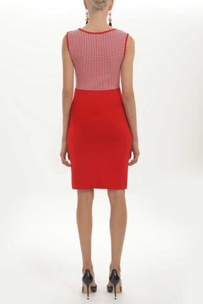 SOCIETA - Dar Kesim Kolsuz Triko Elbise 27937 Kırmızı 2