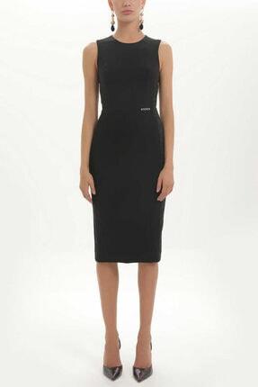 SOCIETA - Simli Kumaş Mixli Kolsuz Elbise 91452 Siyah 0