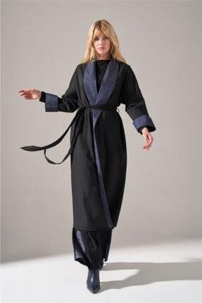 Mizalle Kadın Siyah Denim Şal Yaka  Kimono 1