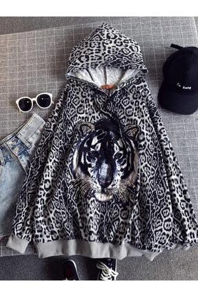 ELBİSENN Kadın Siyah Beyaz Kapüşonlu Leopar Desen Payetli Sweatshirt 0