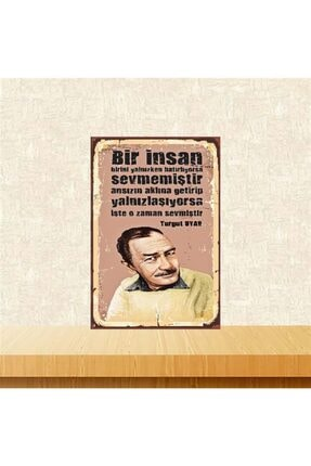 TAKIFİX O Zaman Sevmiştir Turgut Uyar 20-30 Cm Retro Ahşap Poster 0