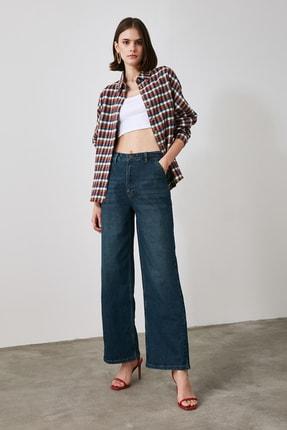 TRENDYOLMİLLA Lacivert Chino Cep Yüksek Bel Wide Leg Jeans TWOAW21JE0727 2