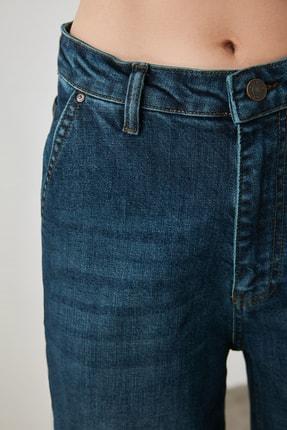 TRENDYOLMİLLA Lacivert Chino Cep Yüksek Bel Wide Leg Jeans TWOAW21JE0727 3