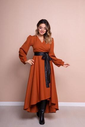 Bidoluelbise Kadın Tarçın Siyah Deri Kemerli Tarçın Uzun Kol Asimetrik Kesim Elbise 0