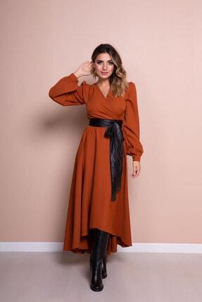 Bidoluelbise Kadın Tarçın Siyah Deri Kemerli Tarçın Uzun Kol Asimetrik Kesim Elbise 3